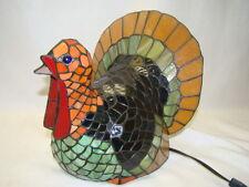 Tiffany Style Stained Glass Turkey Lamp- Thanksgiving, Cracker Barrel NIB