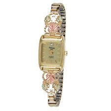 Black Hills Gold watch womens quartz analog with gold band gold face