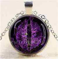 Purple Dragon Eye Photo Cabochon Glass Tibet Silver Chain Pendant Necklace
