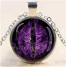 Purple Dragon Eye Photo Cabochon Glass Tibet Silver Chain Pendant Necklace