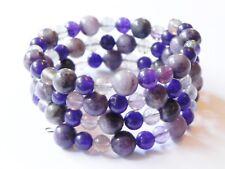 Purple wrap/cuff memory wire gemstone bracelet with jasper, jade and fluorite