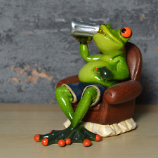More details for comical frogs figurine beer drinking frog statue ornament home decoration