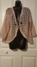 TOFFEE APPLE Woven Meshed Beige Sweater Cardigan Women's ONE SIZE