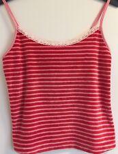 Victoria Secret Pink & Red Striped Velour Lace Trim Camisole Lingerie Top Small