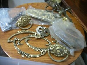 ASSORTED LOT OF  VINTAGE DRAWER PULLS  AND HINGES SOME IN ORIGINAL BAGS