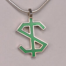 Pendant, Cajuel geometric design Enameled Sterling Silver Dollar Sign