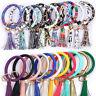 Keychain PU Leather Circle Tassel Bangle Key Chain Wristlet Ring Cute Gifts