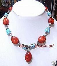 cadeau d'anniversaire Le style du Tibet, réel turquoise et Corail, collier, 45cm