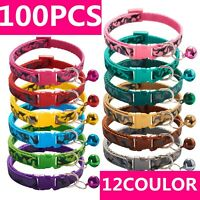 100 PCS Lot of Wholesale Dog Collar Adjustable Buckle Collar W/ Bell Small Puppy
