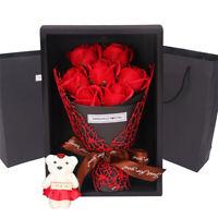 1 BOUQUET ARTIFICIAL SOAP ROSE FLOWER BEAR BIRTHDAY DAY BIRTHDAY WEDDING GIFT