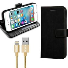 New Rich Luxury Leather Wallet Flip Case For Various Phones + 1M Gold USB Cable