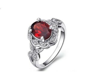 Garnet Solitaire With Accent Ring 14k White Gold Over Sterling Silver 925