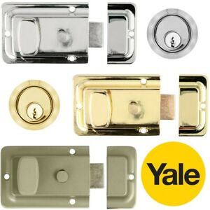 Yale DOOR NIGHT LATCHES Front Back Lock Catch Cylinder Rim Thumb Turn Security