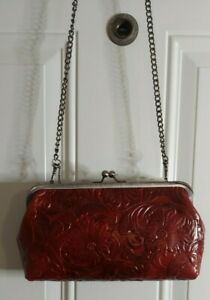 Patricia Nash Potenaz Floral Tooled Leather Frame Crossbody Clutch Purse NWT