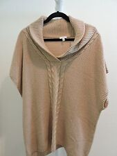 Talbots Lambswool Blend Beige Pullover Sleeveless Cowl Neck Cardigan Size - XL