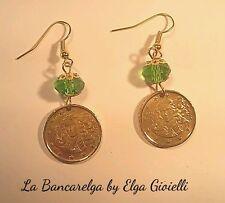 Orecchini gioielli con monete 10 cent euro (Venere Botticelli) cristalli verdi