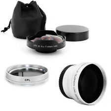 37mm 0.3x Wide Angle Fisheye Lens + 2x Tele + CPL Filter for Sony HDR-XR160 New