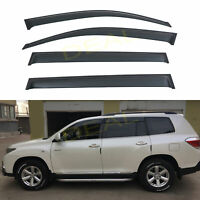 LQQDP 4pcs JDM Smoke Tint Outside Mount Tape On//Clip On Style PVC Sun Rain Guard Vent Window Visors Fit 08-13 Toyota Highlander XU40