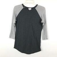 LuLaRoe Randy Womens Size XXS Gray Striped Sleeve Basic Baseball Tee Shirt Top