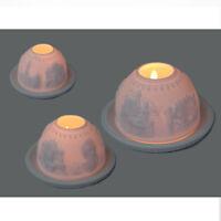 Porzellan Teelichtlampe Windlicht Bayern Schloss Dome Light Starlight Lithophan