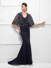 NEW MONTAGE Mon Cheri 117D61 Formal Evening NAVY BLUE GOWN Size 16 Mother Bride
