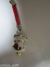 Maneki Neko LUCKY CAT ceramic key bag charm Cell Phone strap#fish Ca un308