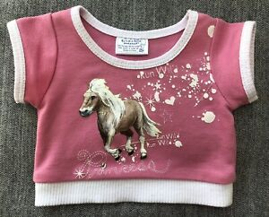 Build a Bear Pink Shirt Top White Horse Short Sleeve Princess Rhinestone flaw