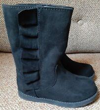 Toddler Girls Size 7 Fashion Boots Reva Ruffle Cat & Jack Black Side Zip