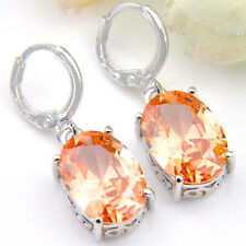 Fashion Jewelry Gift Huge Oval Cut Natural Morganite Gems Silver Dangle Earrings