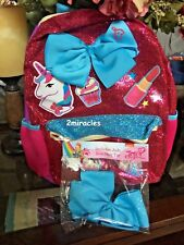 "JoJo Siwa Unicorn Cupcake Lipstick Glitter Sparkle 16"" Backpack & Bow Hair Tie"