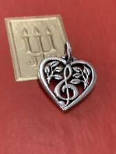 Retired James Avery Treble Heart Charm 925SS Uncut Loop Gift Box