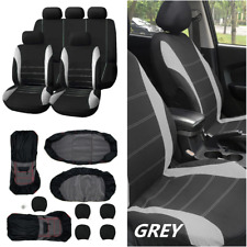 Gray+Black Car Seat Cover 9 Set Full Seat Covers for Crossovers Sedans Auto Deco