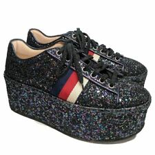 80409ee04aa Gucci Blue Classic Glitter Peggy Platform Strip Leather Lace-up Sneakers