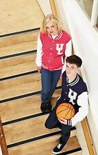 AWDis Varsity Chaqueta Suéter Hombres Mujeres Letterman todos los tamaños de béisbol universitario