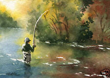 "Fly Fishing ""PERFECT DRIFT"" ACEO Miniature Art Print Signed by Artist DJR"