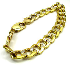 "18 Grams 11mm 9"" XL Mens 10k Yellow Real Cut Gold Cuban Curb Hip Hop Bracelet"
