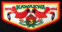 NAWAKWA OA LODGE 3 ROBERT E LEE PATCH 1994 RED BORDER 75TH ANN FLAP TOUGH