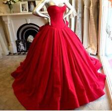 Rot A-Linie Satin Brautkleider Hochzeitskleid Abendkleid Ballkleid CocktailKleid