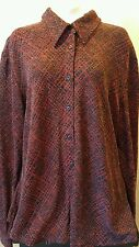 New York & Company Red and Black Glittery Shirt Blouse Women's Size XL Bling