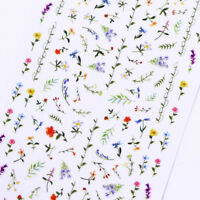 2 Sheets Flower 3D Nail Sticker Floral Nail Art Adhesive Transfer Stickers Decal