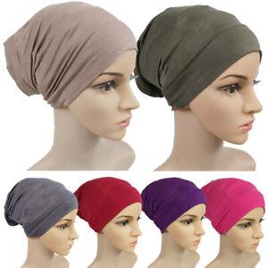 Women Tube Cap Modal Inner Hijab Caps Bonnet Turban Cap Muslim Headband Spring