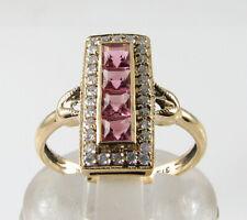 LONG 9K 9CT GOLD PINK TOURMALINE & 30 DIAMOND ART DECO INS RING FREE RESIZE