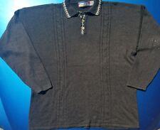 Vintage men's Concrete Mix new wave hipster Henley sweater Size L Black/Charcoal