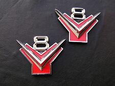 FORD V8 Y BLOCK PAIR Metal Car Emblems Badges *NEW!* Suit Customline Fairlane