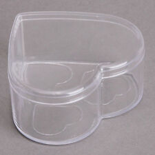 1pc Transparent Heart Plastic Jewelry Display Storage Case Container Box ON SALE
