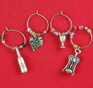 LOT of 4 PEWTER WINE-THEMED CORKSCREW BOTTLE GRAPES WINE GLASS CHARMS/ MARKERS