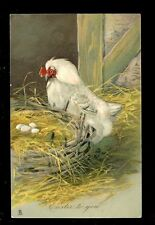 Greetings EASTER Chicken Poultry Tuck heavy embossed #1242 PPC