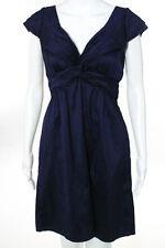 Calypso Saint Barth Blue Silk Cap Sleeve V Neck Zipper Back Dress Size 6
