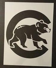 "Chicago Cubs With Bear Cub 8.5"" x 11"" Custom Stencil FAST FREE SHIPPING"