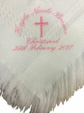WHITE PERSONALISED CHRISTENING - NAMING DAY BLANKET /SHAWL